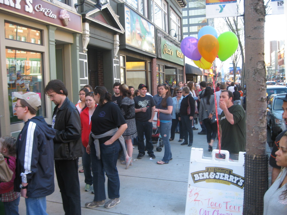 Crowds queued up to feast on $2 taco in downtown Manchester.