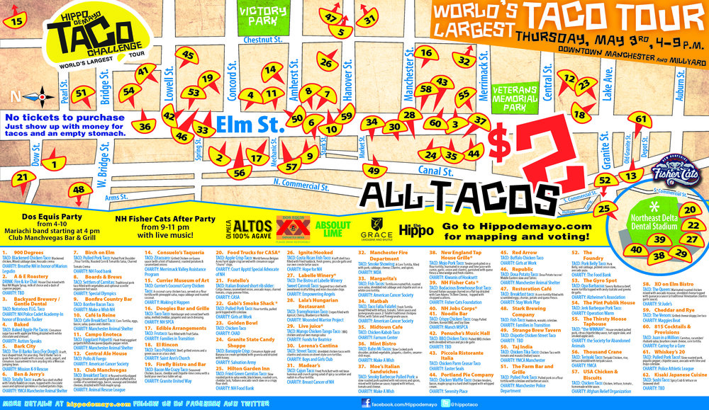 Taco Map 2018 - Taco maps are available at the event in our Hippo boxes (while supplies last) and in the paper of April 28 and May 3. 2018.
