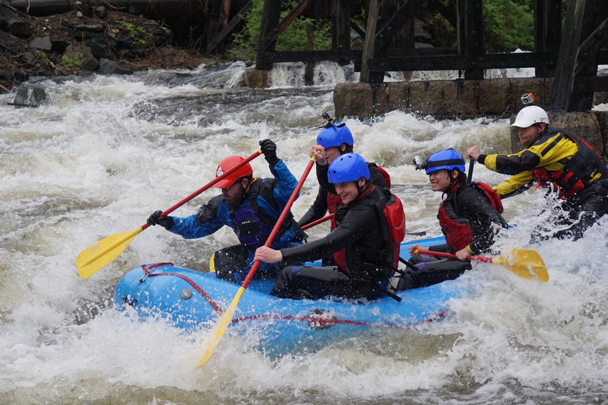 Great fun rafting the rafting the Winnipeasaukee River with Outdoor New England (Photo credit: Outdoor New England)