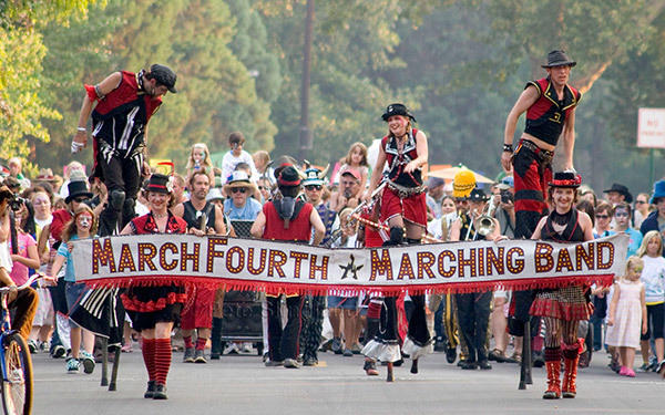 March Fourth Marching Band marched in the Monroe, Utah Pioneer Day Parade, in 2013