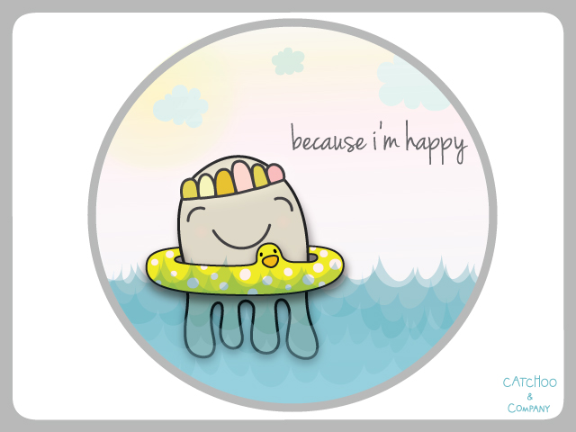 do you feel like this little guy in the water when you are happy? is this your kinda happy?  inspired by pharrell williams' grammmy award winning song.