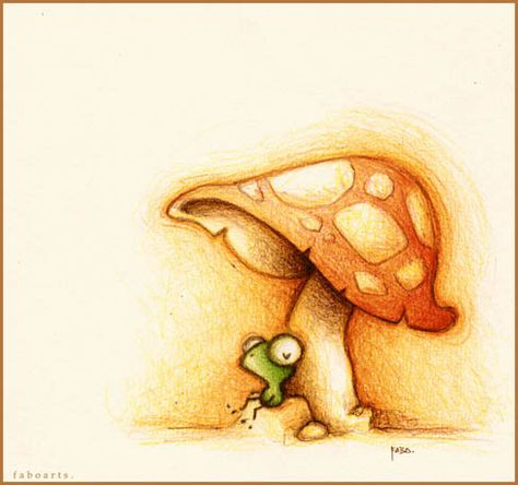 faboarts frog under mushroom. found on https://catchoocutiepie.wordpress.com