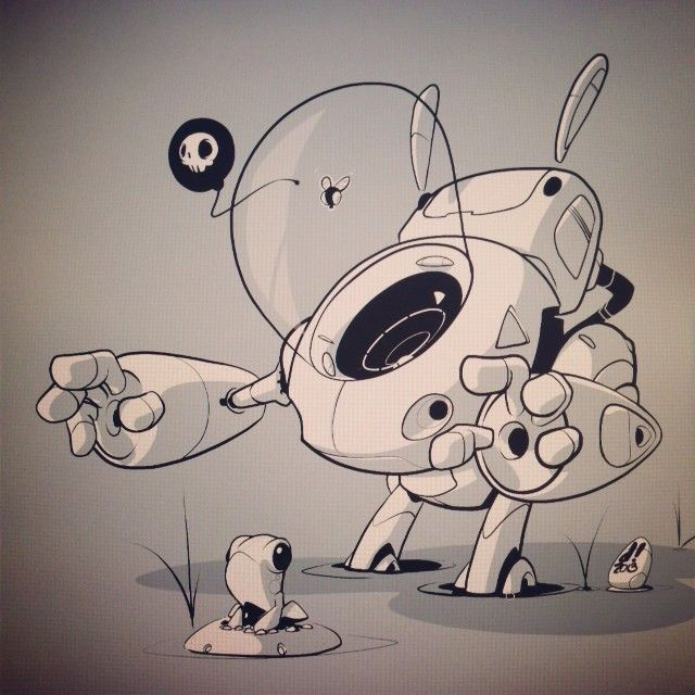 robot and frog art by chocolatesoop. found on https://catchoocutiepie.wordpress.com