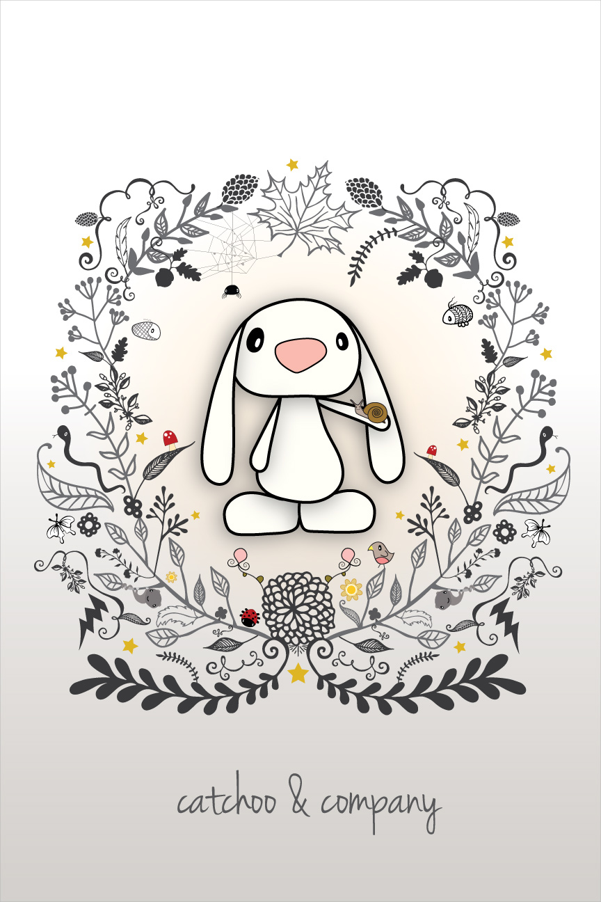 bunny & snail. illustrated characters and design by catchoo & company.