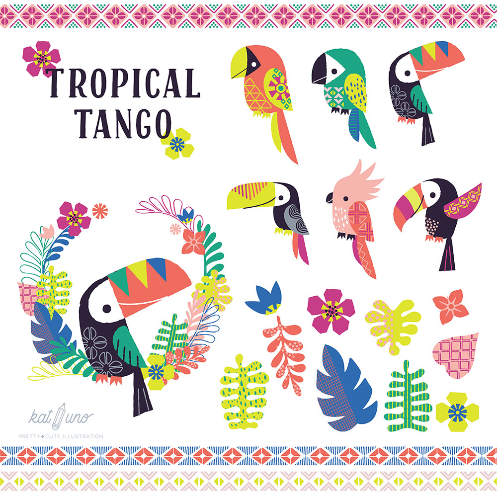 tropical tango toucans illustrated by kat uno. blog post found on catchoo and company