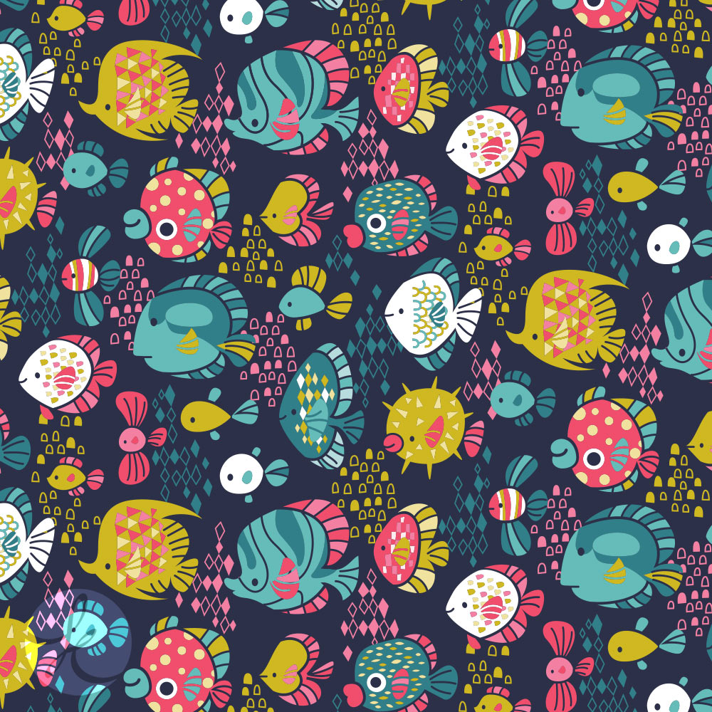 fish pattern  illustrated by kat uno. blog post found on catchoo and company