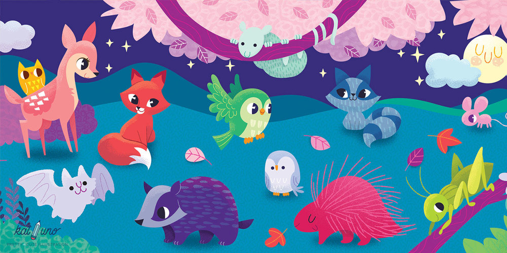 night animals illustrated by kat uno. blog post found on catchoo and company