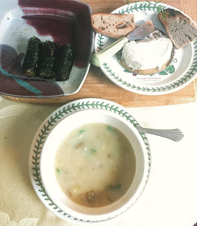 #vegan lunch with Robbie! #potatosoup #seaweedsnack sheets wrapped around #grapeleaves #vegancheese #homemadebread, as always