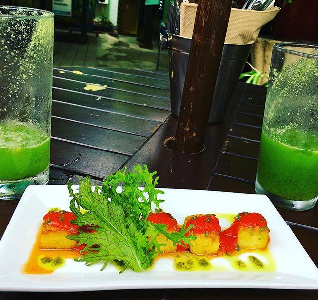#sanjuanpuertorico memories. #polenta bites at #DepartmentodeComida, organic restaurant and local produce store. #vegan
