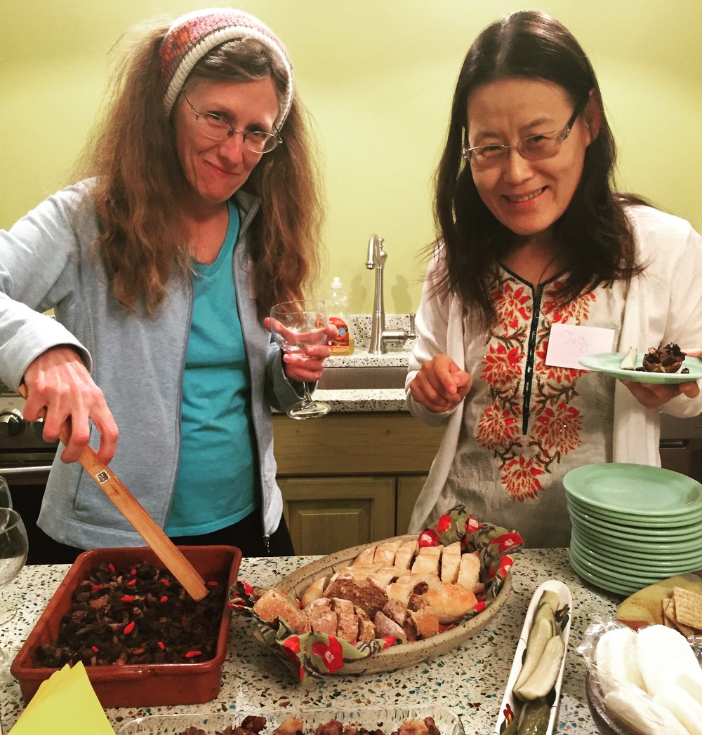 Lee and Joy dig in to vegan stuffed mushrooms and breads