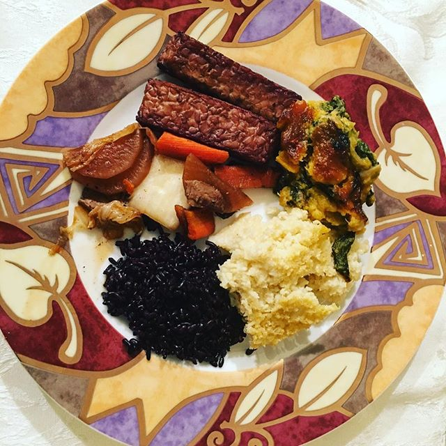 Birthday Club continues! January's meal is gourmet #macrobiotic. Baked #tempeh #cauliflower and #millet mash, #butternutsquash #spinach casserole w #forbiddenrice and #vegetable medley w #napacabbage #shiitake #daikon. #vegan