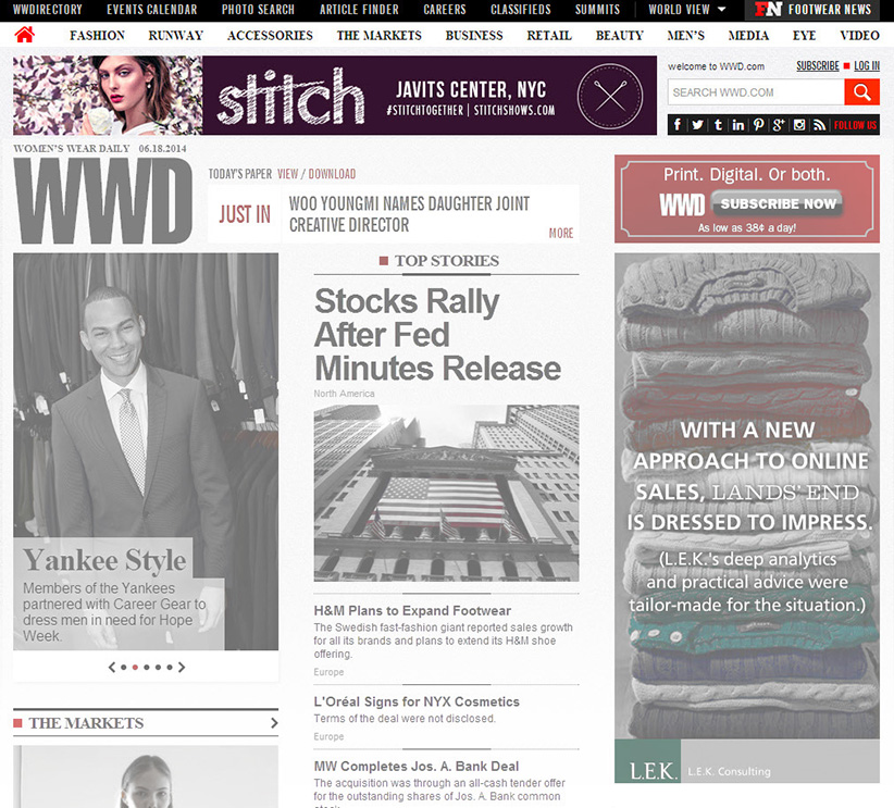 Digital banner ad with STITCHNY image on WWD 6.18.2014