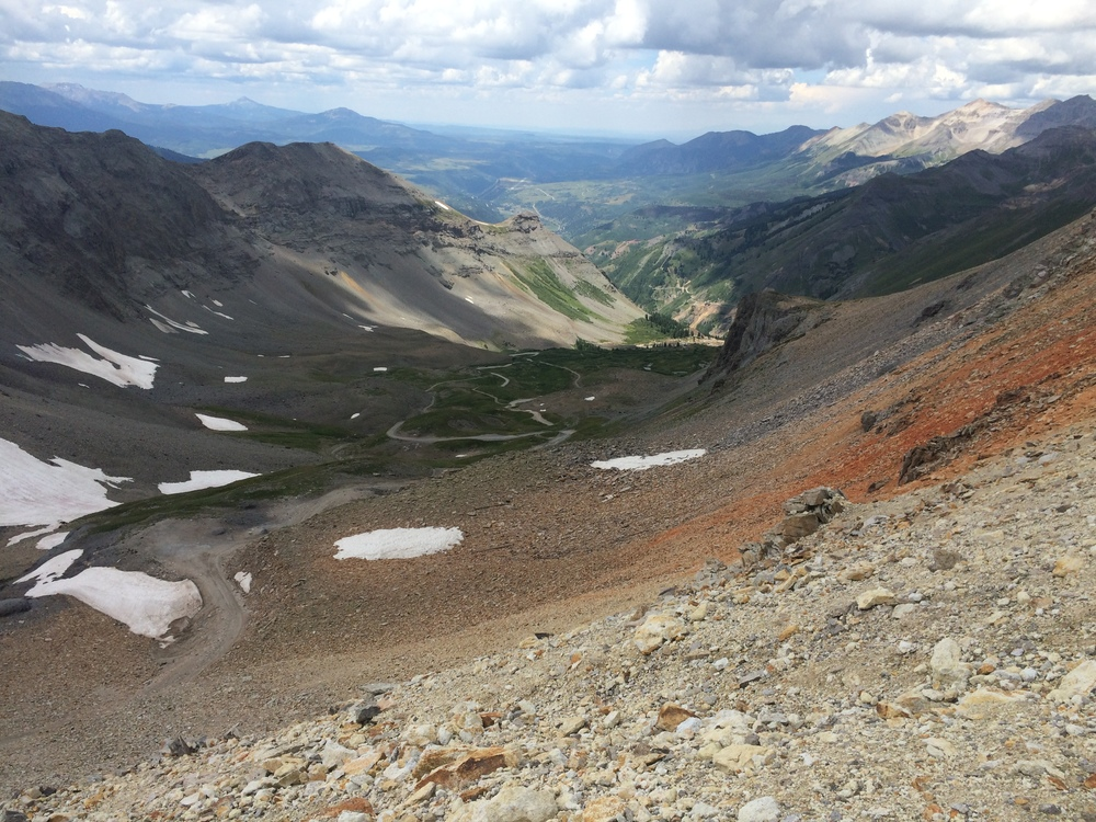 From the Summit of Imogene Pass looking down towards Telluride