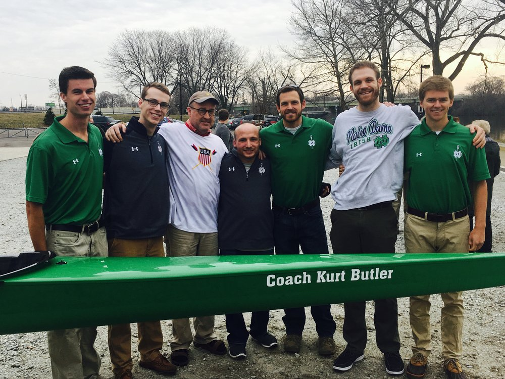 From left to right, Matt DiDonato ('17), Marcus Fennessy ('18), Coach Kurt Butler, Coach Mike Lehmann, Coach Nick Springer, Coach Zach Stackhouse, and Bill Bloebaum ('17)