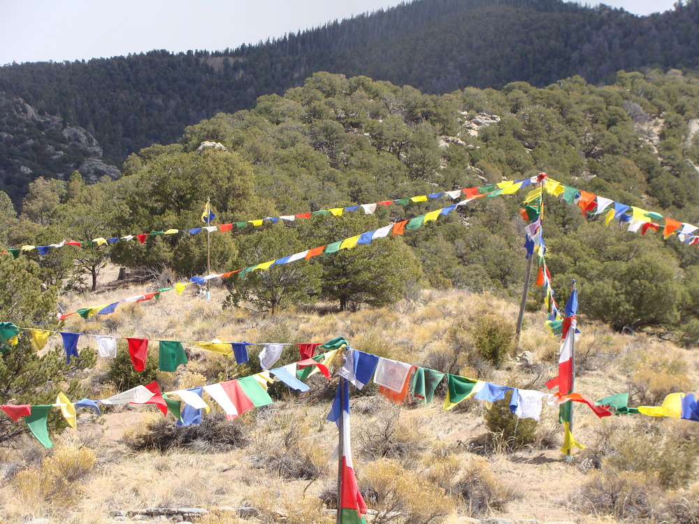 ... and we find a quiet place for contemplation and peace beneath these Buddhist prayer flags.