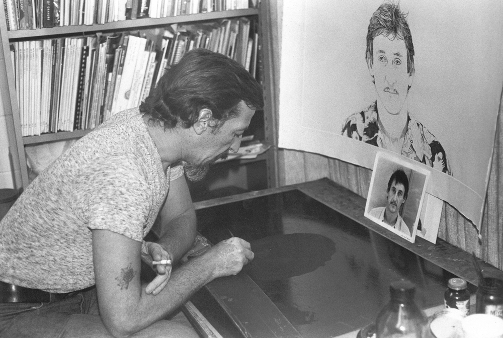 Theo, USF 1979, creating a stipple etched plate of Ed Ruscha.