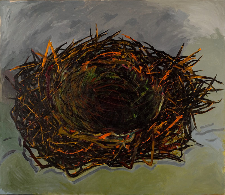 "Green Nest, 2007, acrylic on canvas, 90"" x 70"""