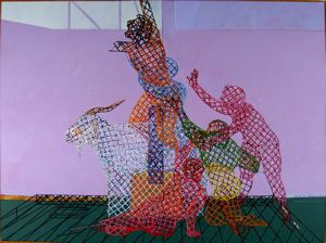 "Survivors On The Monogram, 1986, acrylic/collage on canvas, 102"" x 138"""