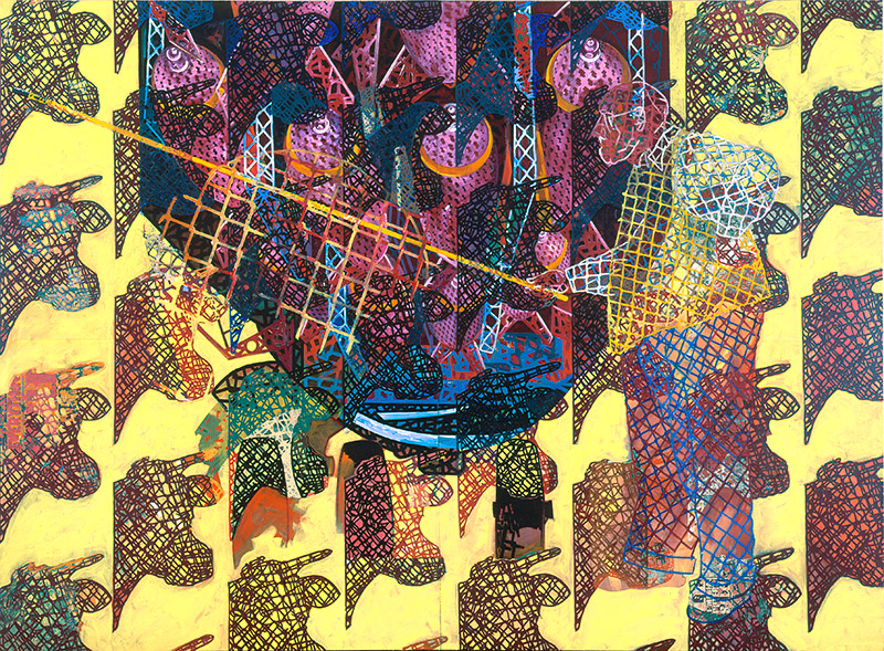 "Miscue, 1996, acrylic/collage on canvas, 102"" x 138"""