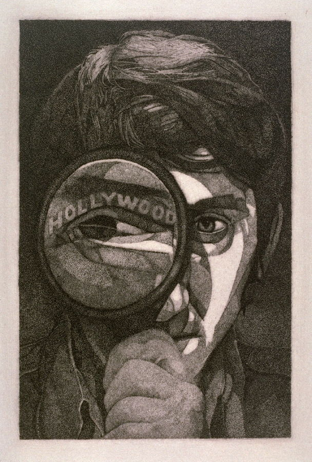 "Hollywood Eye/Ed Ruscha, 1970,  stipple etching, 3 1/2"" x 5 7/8"""