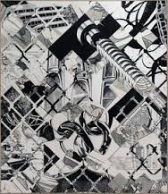 "Cantos II, 1997, charcoal/polymer emulsion on canvas, 90"" x 78"""