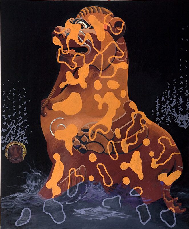 "Dark Guardian, 2011, acrylic on canvas, 90"" x 78"""