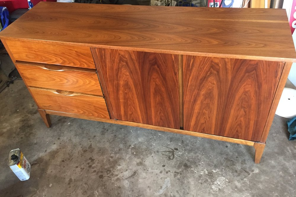 - In lieu of wood stain, because walnut is so naturally beautiful and rich, I choose Tung oil ( you can also use Danish Oil, Teak Oil) to give this beauty deeper colour and enhance the grain and glow. I applied about 6 coats of oil ( 6 hrs wait time btwn coats )and gave it about 2 weeks to