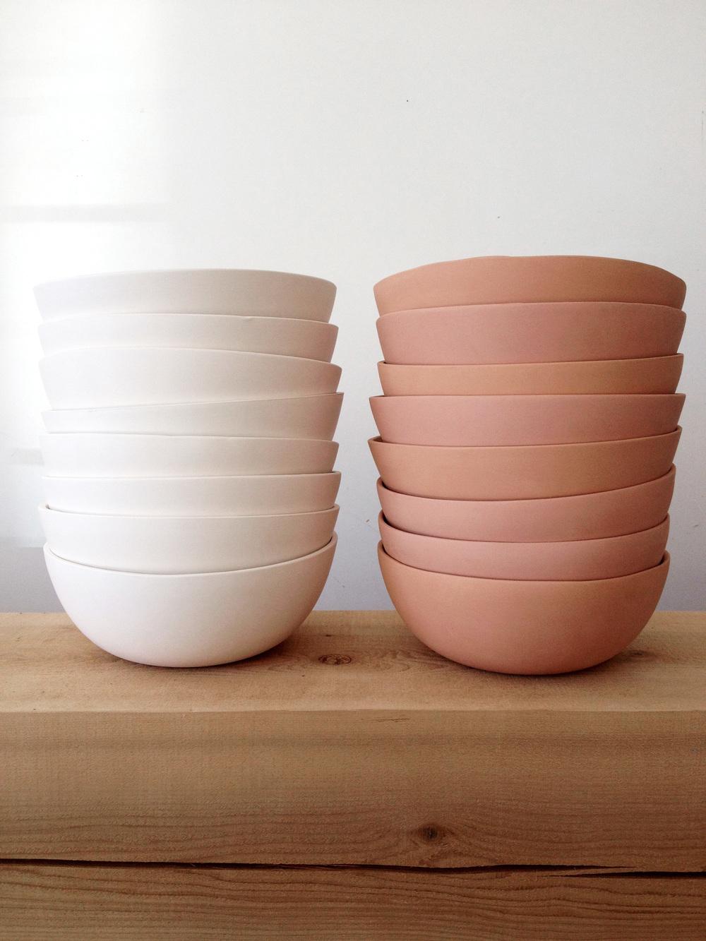 LeftWhite Earthenware w/ Clear Inner Glaze RightRaw Terracotta
