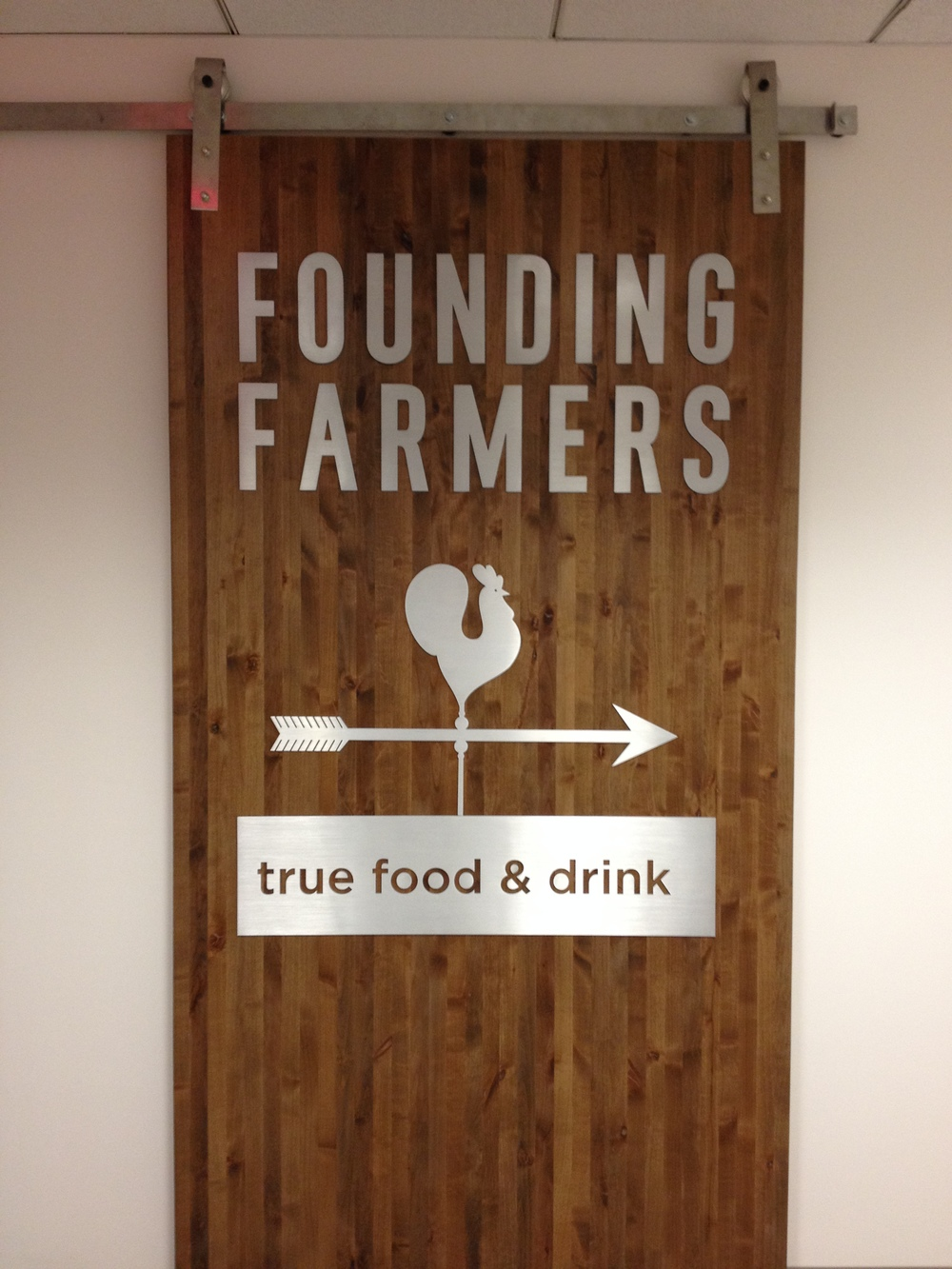 Die-cut solid aluminum letters for Founding Farmers