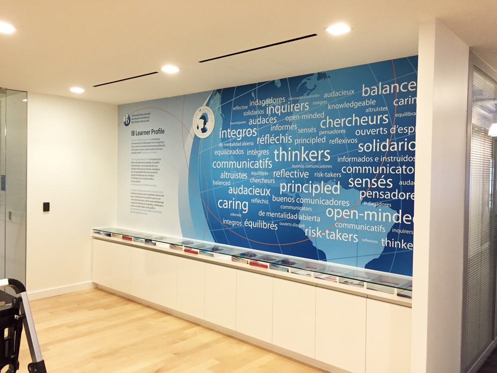 Laminated vinyl prints (4) installed on-site for International Baccalaureate