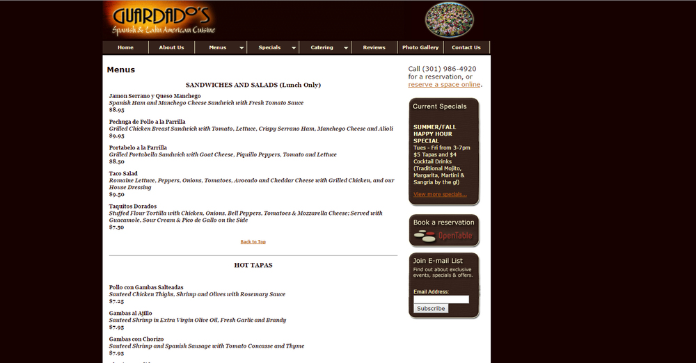 Guardado's Menu Page - Before