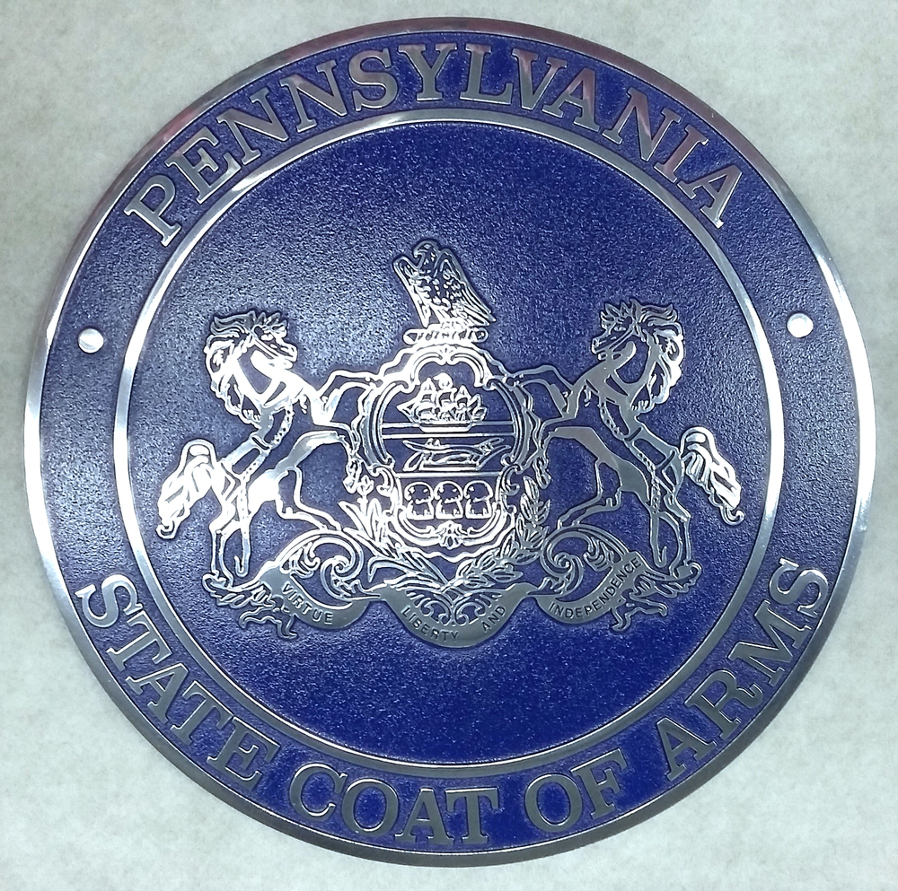 State Coat of Arms: Painted engraved plaque