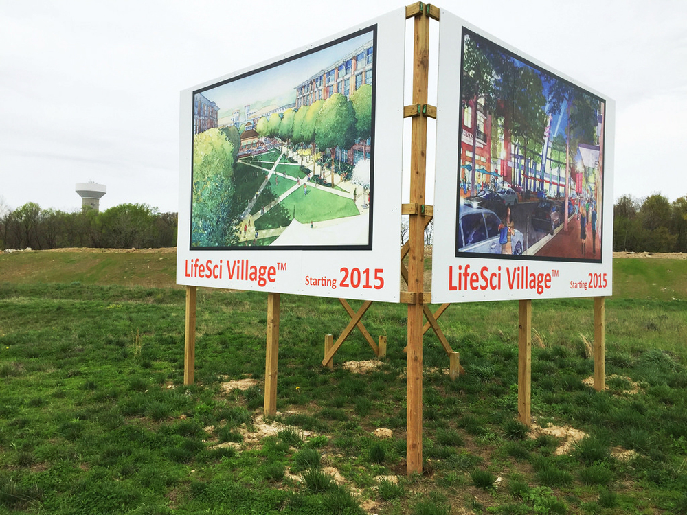 "Site Sign: Each side is 96""x144"", comprised of three 48""x96"" panels."