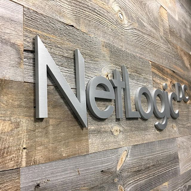 "3/8"" thick brushed metal stud mounted lettering on fake reclaimed wall #3dlettering #nextdaysignexpress"