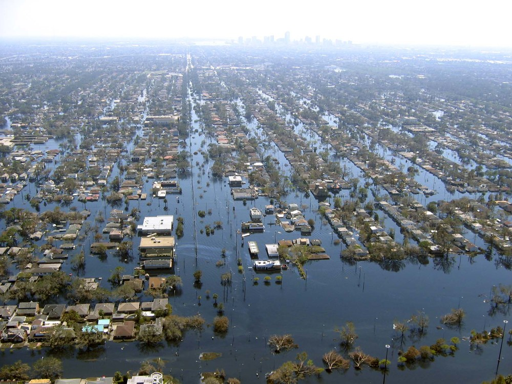 New Orleans after Hurricane Katrina hit the coast and the flood defense systems broke.
