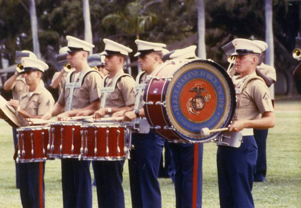 Peter Clarke is the First Snare Drummer on the Left