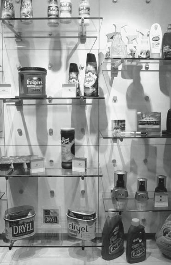 A display of a few product package designs developed by Product Ventures in Fairfield.  Examples of its work can be found in most U.S. homes.