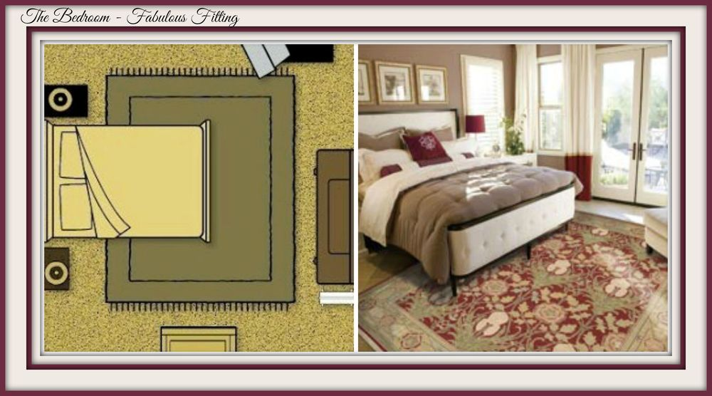 In the bedroom the area rug will work best when placed under the bed.  This will give you cozy comfort when stepping out of bed.  An 8 x 10 area rug will work for a king-size bed. Using the 10-foot side as the width will give you about 20-inches on each side of the bed.   Again, going bigger is better and measuring to include the nightstands will give you a good balance.  To determine the length get a good position of where your feet hit the floor in the morning and your set.