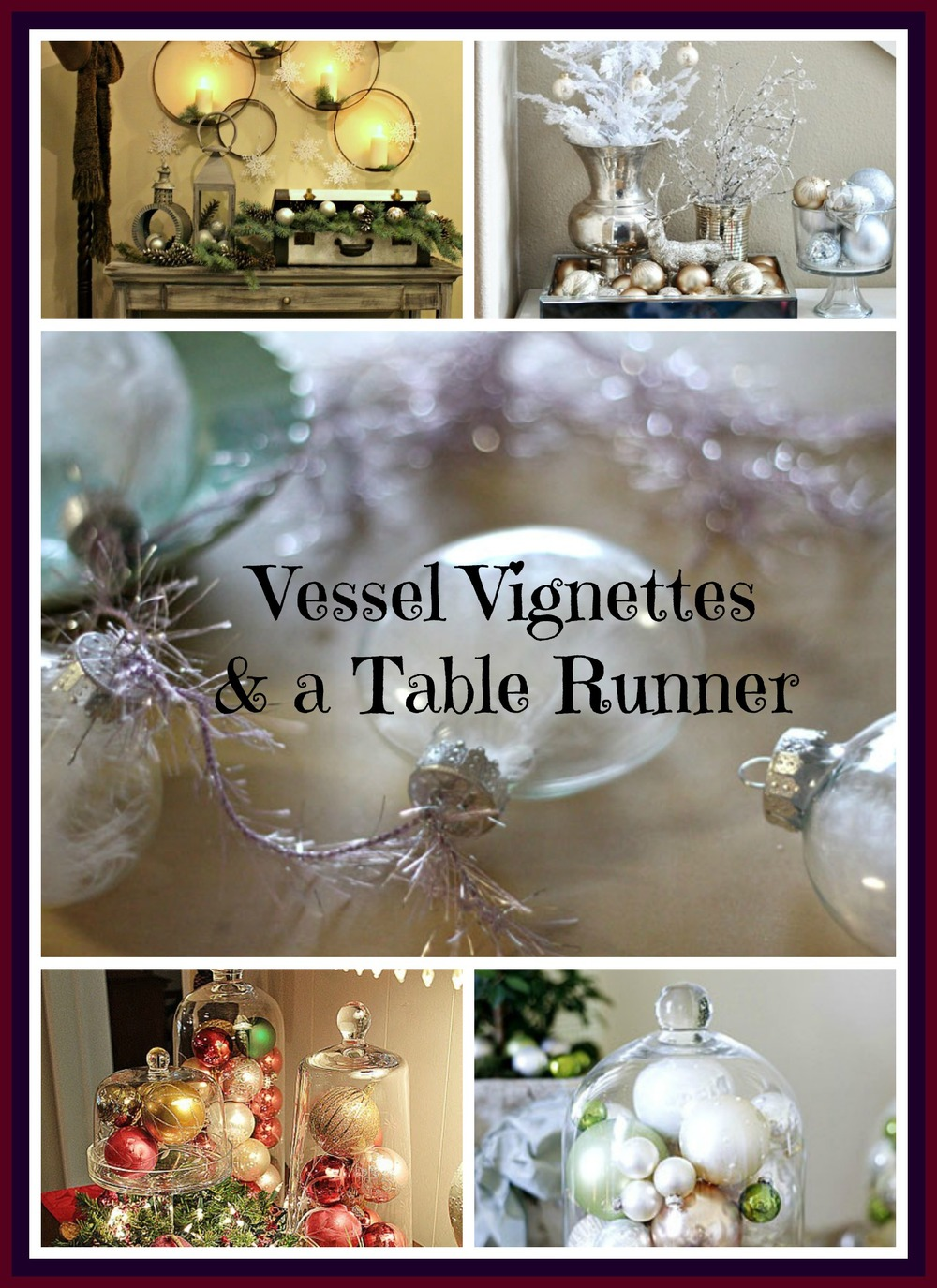 "Gift yourself a few ""vessels"" as shown here and simply transform your space throughout the year.  The antique suitcase is a great vessel find! Of course, asking for that one thing and I ended up with two - no problem!  Compliment your design scheme with table runners.  Get out those fabric remnants or Gramma's lace doilies and highlight the Vessel Vignettes.  Given a couple of hours I could pull this off!  Love these Pinterest finds."