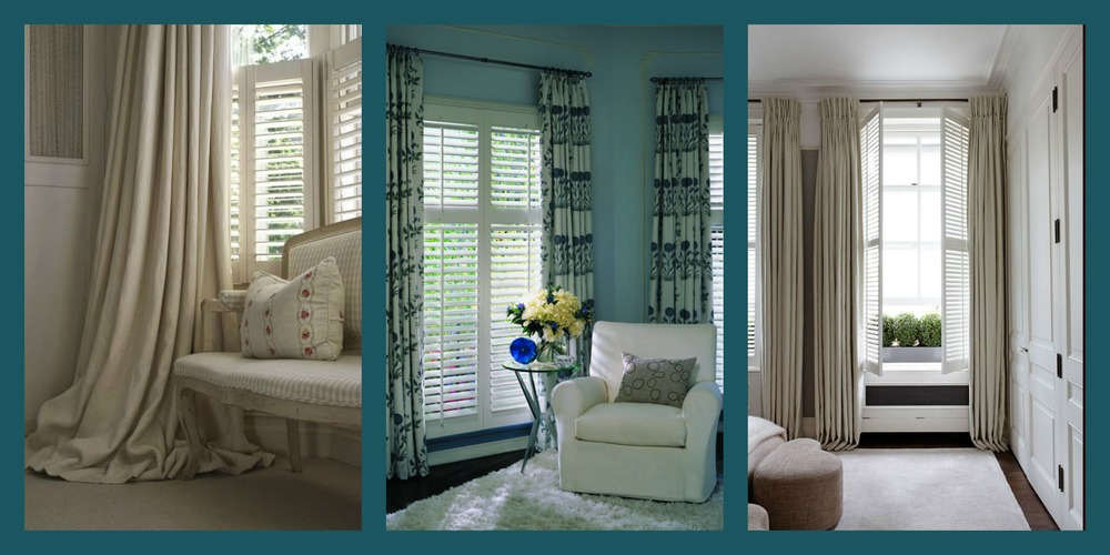 Draperies.  Shutters are known as one of the best insulating window coverings on the market.  To enhance your coverage and block light-lines that appear through the closed louvers, consider a drapery allowing enough stack-back off the shutter and higher placement of the drapery rod to soften the look and allow you to coordinate your fabrics to the window.  There's nothing like a window that completes the room - and this is it.