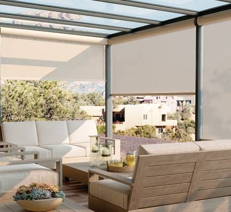 Outdoor Sunscreen Shades by Graber will not only cool down the patio they also cut the sun's glare and the UV rays.  Add motorization for worry-free operation.