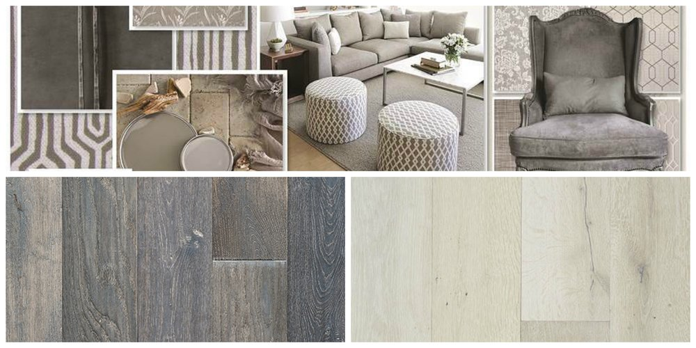 Photo credit top inspiration board from our friends at RMCoco Fabrics.  Photo credit bottom hardwood selections by Artistry Hardwoods with color-through technology.