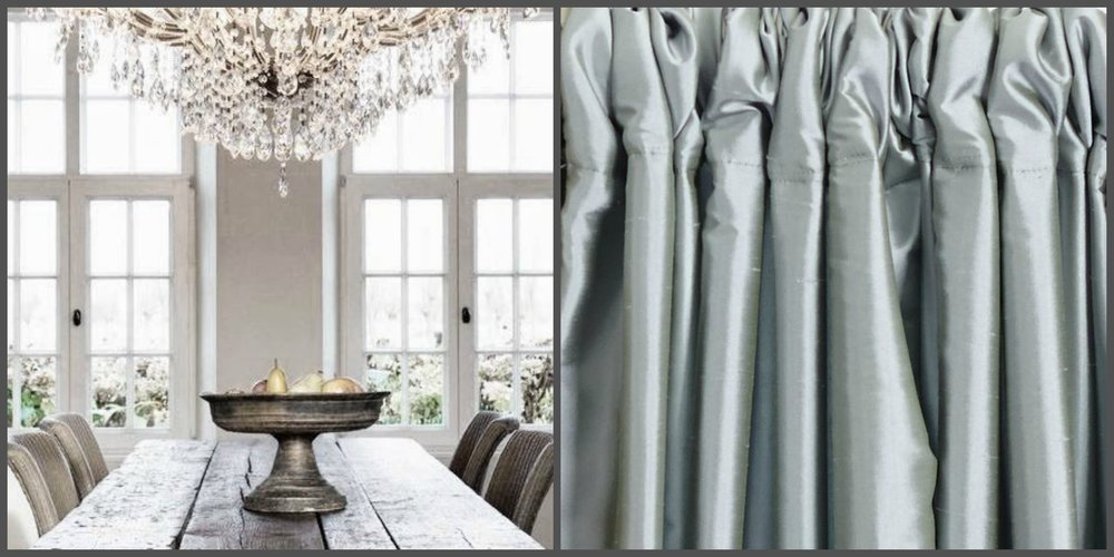 In my opinion - A rustic refined space is lacking in refinement if the draperies are not designed for the setting.  We've selected high-style, fully-interlined, relaxed-rouched pleating in Dupioni silk fabric to adorn the windows from the floor to the ceiling.