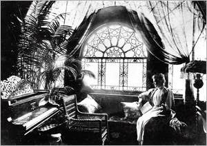 Frances Cleveland - This relaxed, garden atmosphere may give us a glimpse into First Lady Cleveland's personality.  The dramatic sheers showcase the beauty of the Tiffany window in or about 1888.