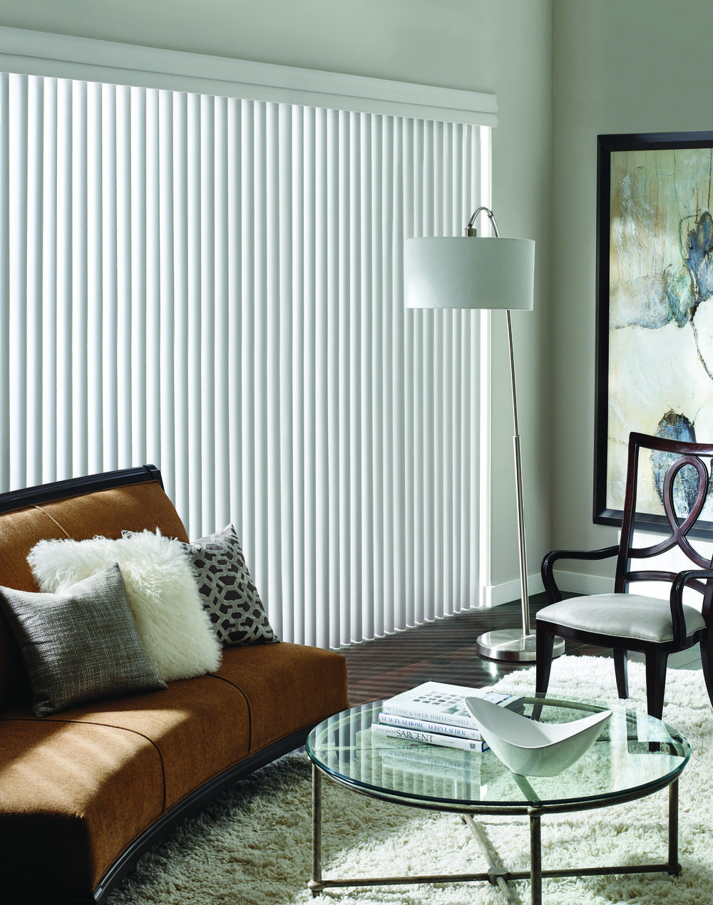 1. Vertical Blinds - An original in covering sliding patio doors are Verticals and they just keep transforming into something new as you'll see - Next! Pros:  PVC verticals are easy-to-clean, easier-to-operate, and great for larger windows.  A great choice for modern interiors. Cons:  We are frequently asked: