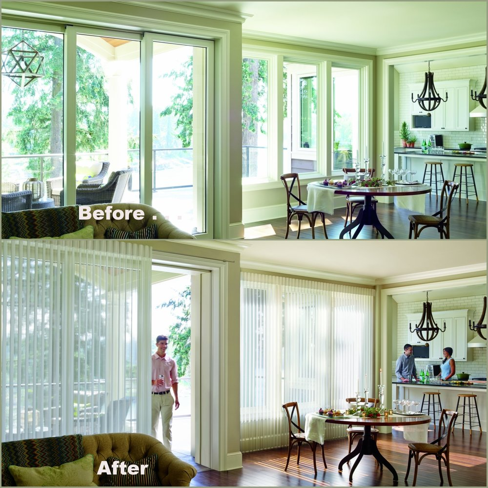 We could write an entire stand-alone article on Luminette Privacy Sheers.      Pros:  A beautiful transformation for any sliding glass door with optimum light control including filtered light or room darkening selections. For whole house solutions coordinate selections with Luminette's horizontal sheer sister the Silhouette Window Shading.  No cornice box or topper required.  The beauty is in the design of the structured folds at the top.  *PowerView motorization available.    Cons:  *Larger motorized coverings require a cord.  The Luminette is a delicate fabric and gentle care is highly recommended for cleaning.