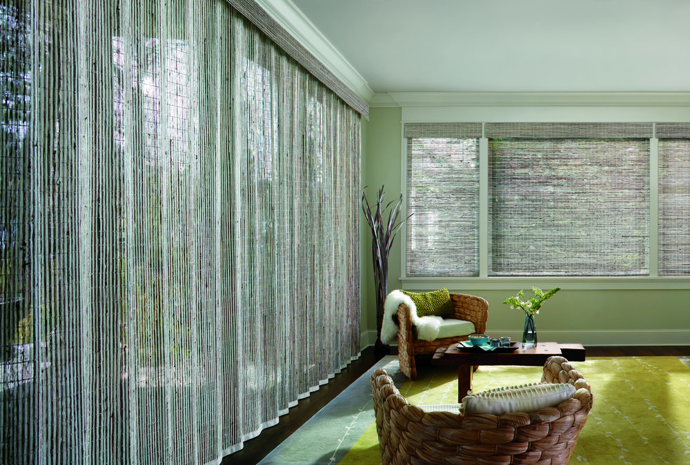 Woven Woods  The 'Other' Drapery   - Casual elegance encompasses the room in textures with Woven Woods vertical applicationsPhoto:  Hunter Douglas Provenance Woven Wood Shades