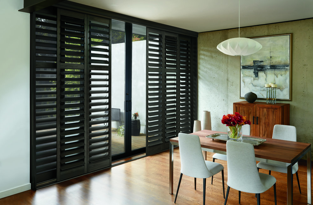 Shutters - A classic window covering that can be designed to slide with the opening, or bi-fold across.