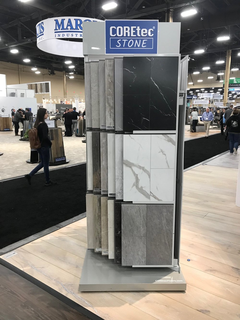 """COREtec - COREtec unveils the latest in their ever-popular waterproof vinyl plank series with STONE.18"""" x 36"""" large format vinyl tiles replicate marble, limestone, sandstone and concrete looks. Samples to arrive end of March."""