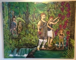 """Waitaha Gathering Putiputi."" Acrylic on canvas. By Hine Forsyth."